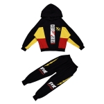 Boys Hooded Casual Sport Two-piece (Color:Black Size:110cm)
