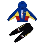 Boys Hooded Casual Sport Two-piece (Color:Dark Blue Size:150cm)
