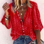 Fashion Loose Women Blouse (Color:Red Size:S)