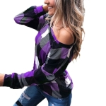 Off-the-shoulder Plaid Slim Long-sleeved Top (Color:Purple Size:L)