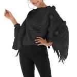 Fur Ball Shawl Cloak Coat (Color:Black Size:One Size)