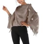 Fur Ball Shawl Cloak Coat (Color:Khaki Size:One Size)