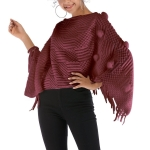 Fur Ball Shawl Cloak Coat (Color:Red Size:One Size)