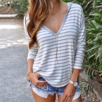 Long-sleeved T-shirt Stripe Loose Hooded (Color:White Size:M)