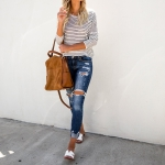 Striped Long-sleeved Loose T-shirt (Color:White Size:S)