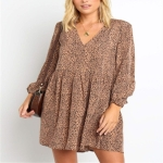 Autumn and Winter Leopard Small Point V-neck Casual Dress (Color:Khaki Size:S)