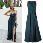 V-neck Mid-waist Sleeveless Dress Jumpsuit Dress (Color:As Show Size:S)