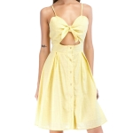 Slinged Umbilical Single-breasted Dress (Color:Yellow Size:S)