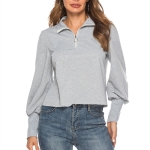 Zip-neck Lantern Sleeve Long Sleeve Top Sweatshirt (Color:Grey Size:S)