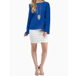 Back Crossover Long Sleeve Chiffon Shirt (Color:Blue Size:M)