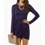 Long Sleeve Fashion Dress (Color:Purple Size:L)
