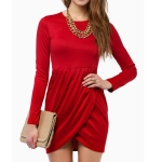 Long Sleeve Fashion Dress (Color:Red Size:M)