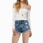 Off-the-shoulder Collar Long-sleeved Slim Top (Color:White Size:M)