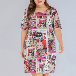 Large Size Women's Knit Printed Dress (Color:As Show Size:XXXL)