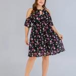 Large Size Women Chiffon Print Dress (Color:Black Size:L)