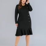 Large Size Women Fashion Casual Dress (Color:Black Size:L)