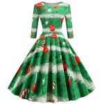 Sleeve Elegant Retro Print Big Swing Dress (Color:Green Size:M)
