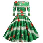 Sleeve Elegant Retro Print Big Swing Dress (Color:Green Size:XL)