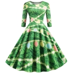 Sleeve Elegant Retro Print Big Swing Dress (Color:Green Size:L)