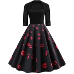 Sleeve Fashion Personality Printing Lapel Big Swing Dress (Color:Black Size:S)