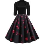 Sleeve Fashion Personality Printing Lapel Big Swing Dress (Color:Black Size:XL)