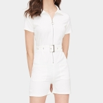 Knitted Short-sleeved Jumpsuit With Belt (Color:White Size:S)