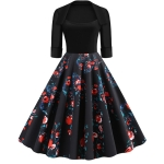 Fashion Personality Printing Lapel Big Swing Dress (Color:Black Size:S)