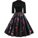 Fashion Personality Printing Lapel Big Swing Dress (Color:Black Size:L)