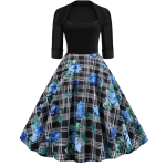 Sleeve Fashion Personality Printing Lapel Big Swing Dress (Color:Blue Size:S)