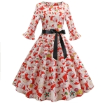 Retro Print Large Round Neck Sleeve Dress with Belt (Color:Red Size:S)