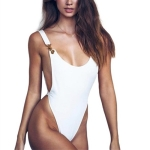 Metal Buckle Bottoming Bodysuit (Color:White Size:S)