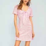V-neck Short-sleeved Dress (Color:Pink Size:S)