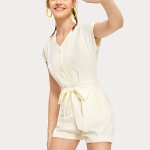 Yellow Striped Short-Sleeved Jumpsuit (Color:Yellow Size:S)