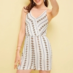 Printed Sling Jumpsuit (Color:White Size:S)