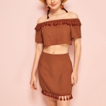 Bohemian Holiday Tassel Word Collar Skirt Suit (Color:Light Brown Size:M)