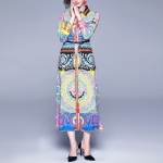 Fashion Printed Single-breasted Lapel Slim Dress(Color:As Show Size:L)
