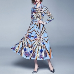 Printed Shirt Collar Big Swing Dress Pleated (Color:Blue Size:2XL)