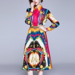 Printed Long-sleeved Pleated Dress Long Section (Color:Red Size:M)