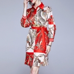 Fashion Printed Long-sleeved Shirt Dress Lace Dress (Color:Red Size:2XL)