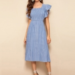 Striped Square Collar Lotus Sleeve Slim Denim Dress (Color:Baby Blue Size:L)