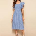 Striped Square Collar Lotus Sleeve Slim Denim Dress (Color:Baby Blue Size:XL)