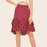 After Irregular Short Long Wave Point Half-length Skirt (Color:Wine Red Size:M)