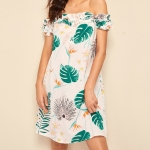 Plants Printing Boat Neck Strapless A-line Dress (Color:White Green Size:L)