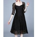 Fashion Vintage Elegant Lace Dress (Color:Black Size:XL)