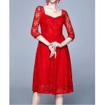 Fashion Vintage Elegant Lace Dress (Color:Red Size:M)