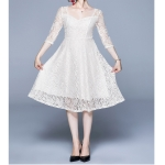 Fashion Vintage Elegant Lace Dress (Color:White Size:L)