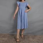 Striped Square Collar Lotus Sleeve Slim Denim Dress (Color:Blue Size:S)