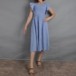 Striped Square Collar Lotus Sleeve Slim Denim Dress (Color:Blue Size:L)