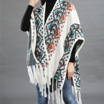 Pattern Shawl Fringed Cape Shawl Cotton Warm Sweater(Color:White Size:One Size)