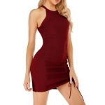 Knit Slim Sexy Hip Dress (Color:Wine Red Size:S)